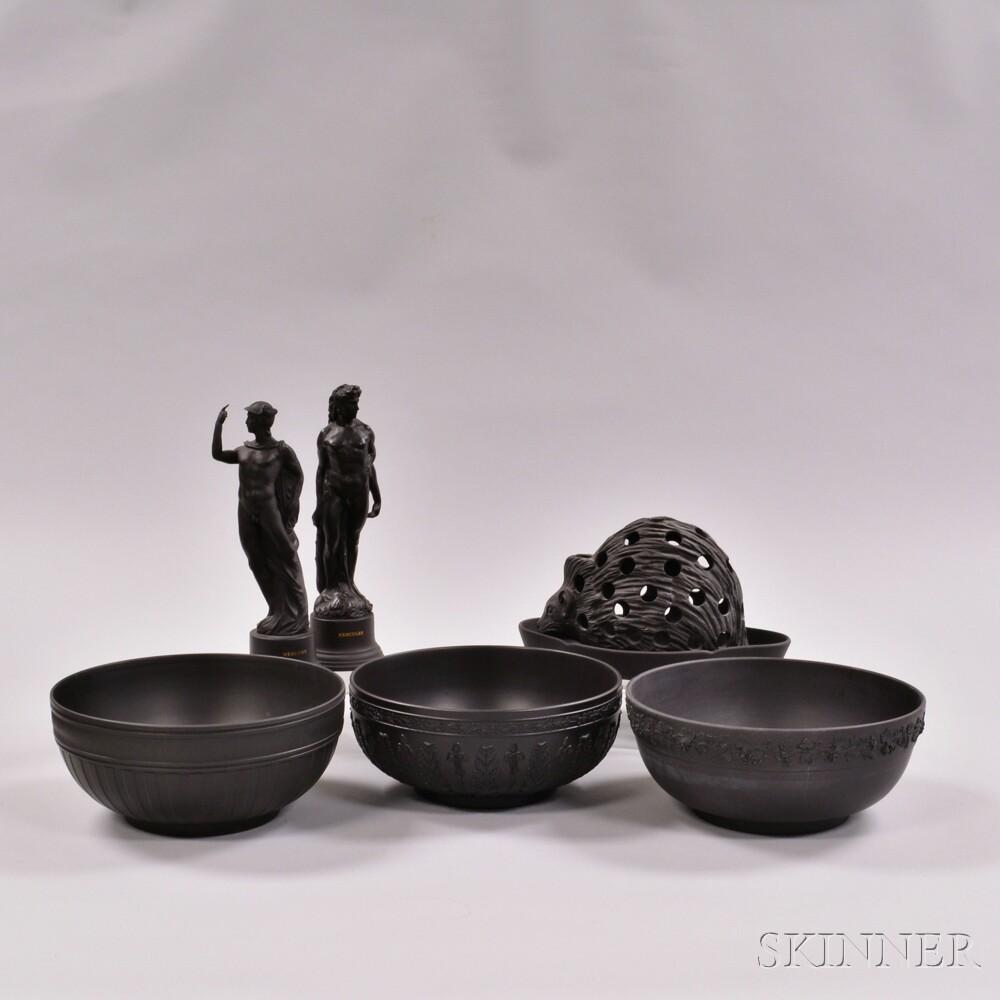 Seven Wedgwood Black Basalt Items