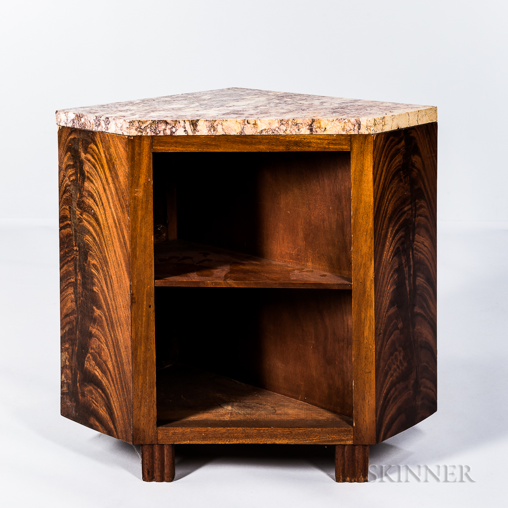 Mahogany Marble-top Corner Table