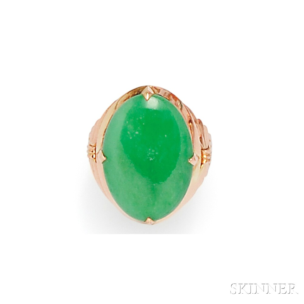 14kt Rose Gold and Jadeite Ring