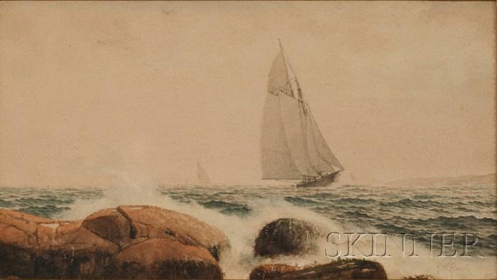 Kilby Webb Elwell (American, 1841-1916)      Coastal Scene with Sailing Vessel.