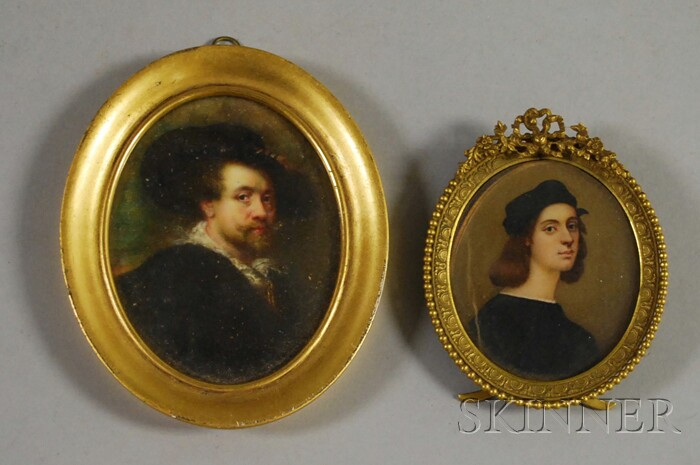 Two Framed Miniature Paintings After Self-portraits of Artists