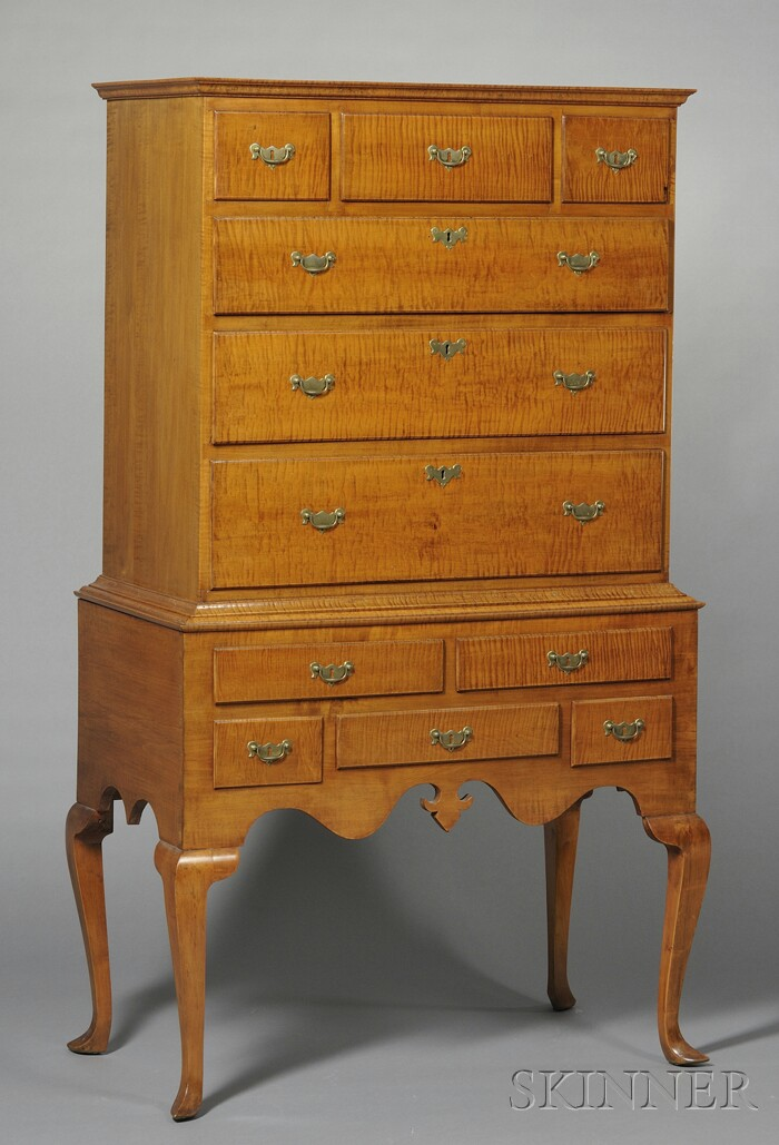 Queen Anne Tiger Maple High Chest of Drawers