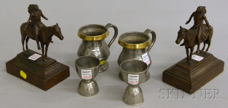 Four Pewter Items and a Pair of Bookends