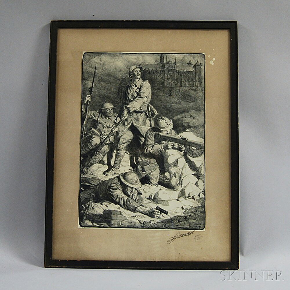 Framed WWI Battle Scene Lithograph