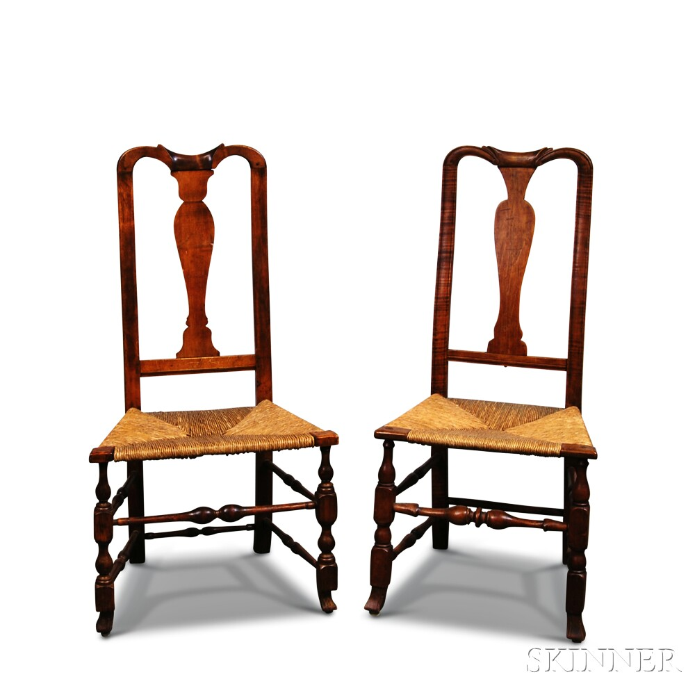 Two Queen Anne Maple Side Chairs