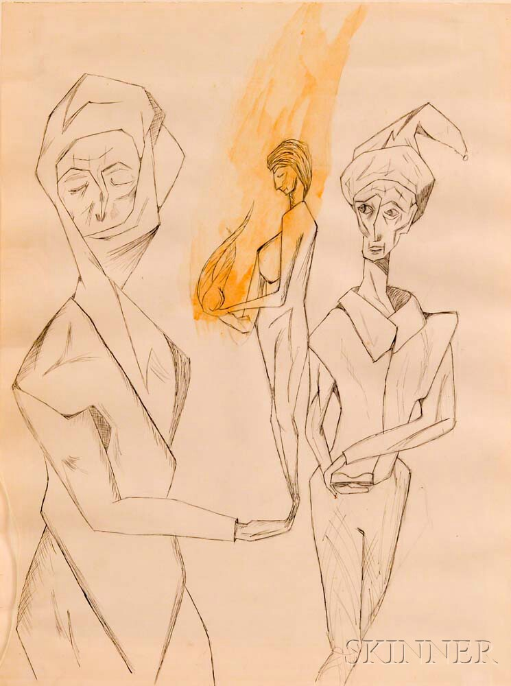 American School, 20th Century      Two Figures, One Holding a Smaller Figure Presenting a Flame.