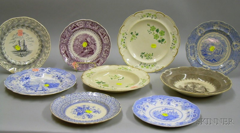 Nine English Transfer and Hand-painted Staffordshire Plates and Deep Dishes.