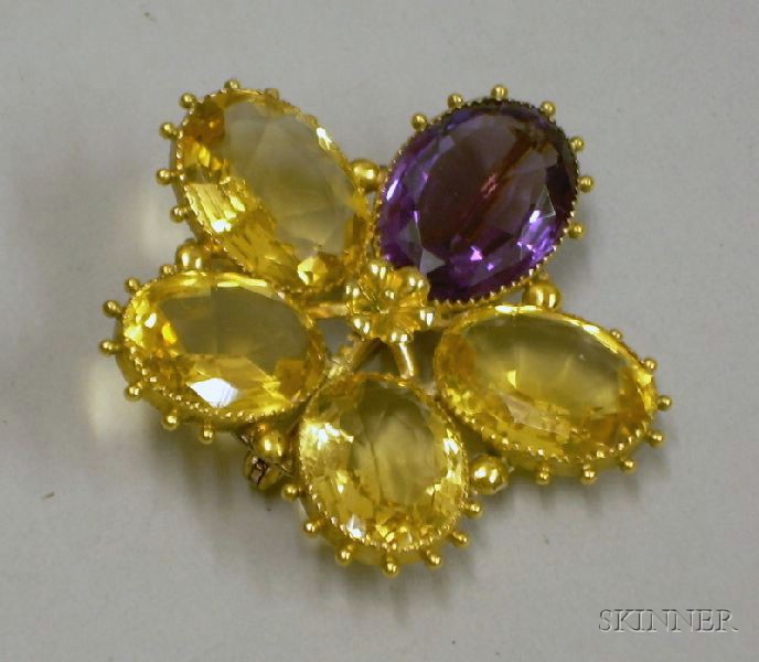 16kt Gold Citrine and Amethyst Floral Brooch