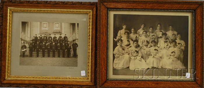 Two Framed Class Photographs of a Girl's Finishing School and a Boy's Military   Academy