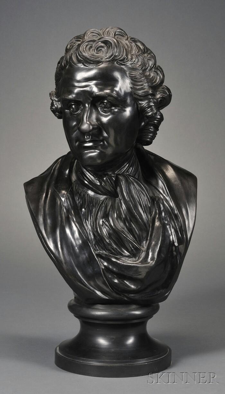 Wedgwood & Bentley Black Basalt Library Bust of Rousseau