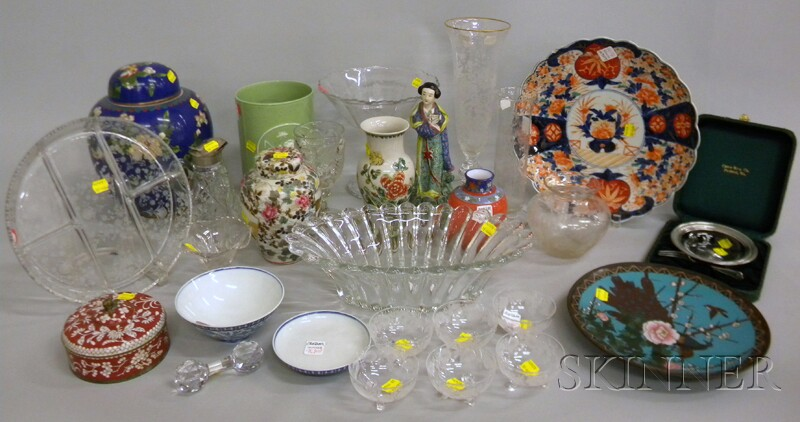 Lot of Glass, Porcelain, and Cloisonne Table Items