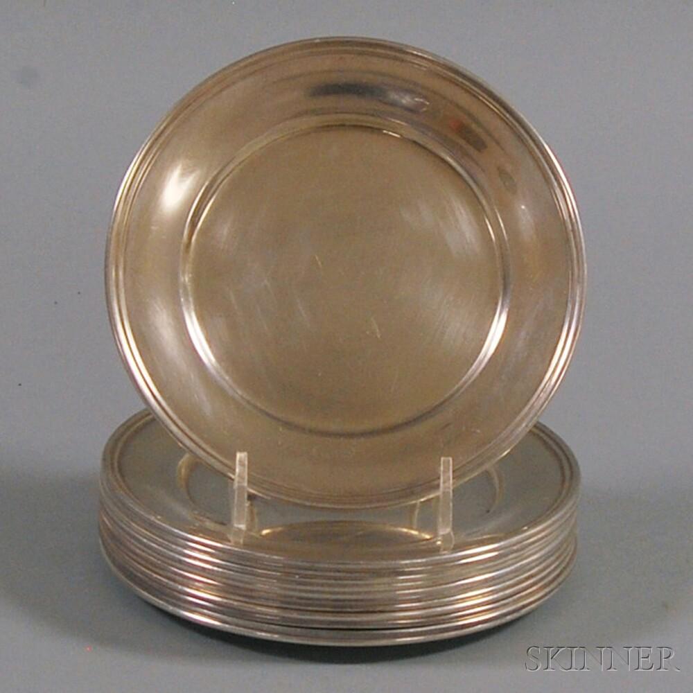 Set of Twelve S. Kirk & Son Sterling Silver Bread PlatesSet of Twelve S...