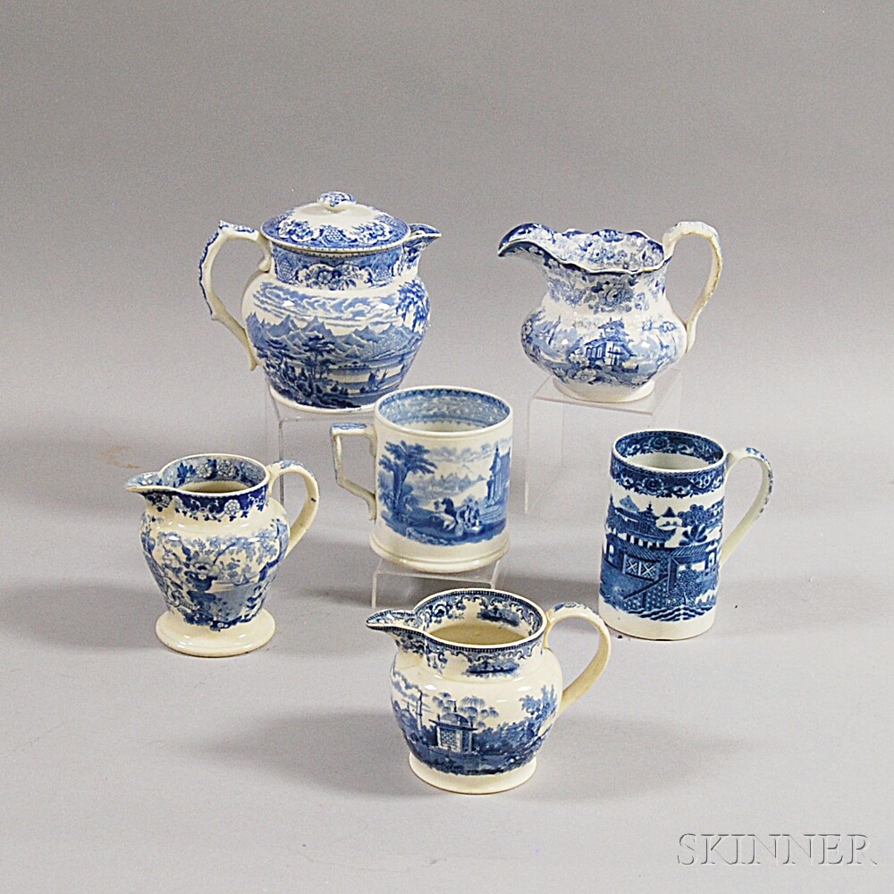 Six Staffordshire Blue and White Transfer-decorated Vessels