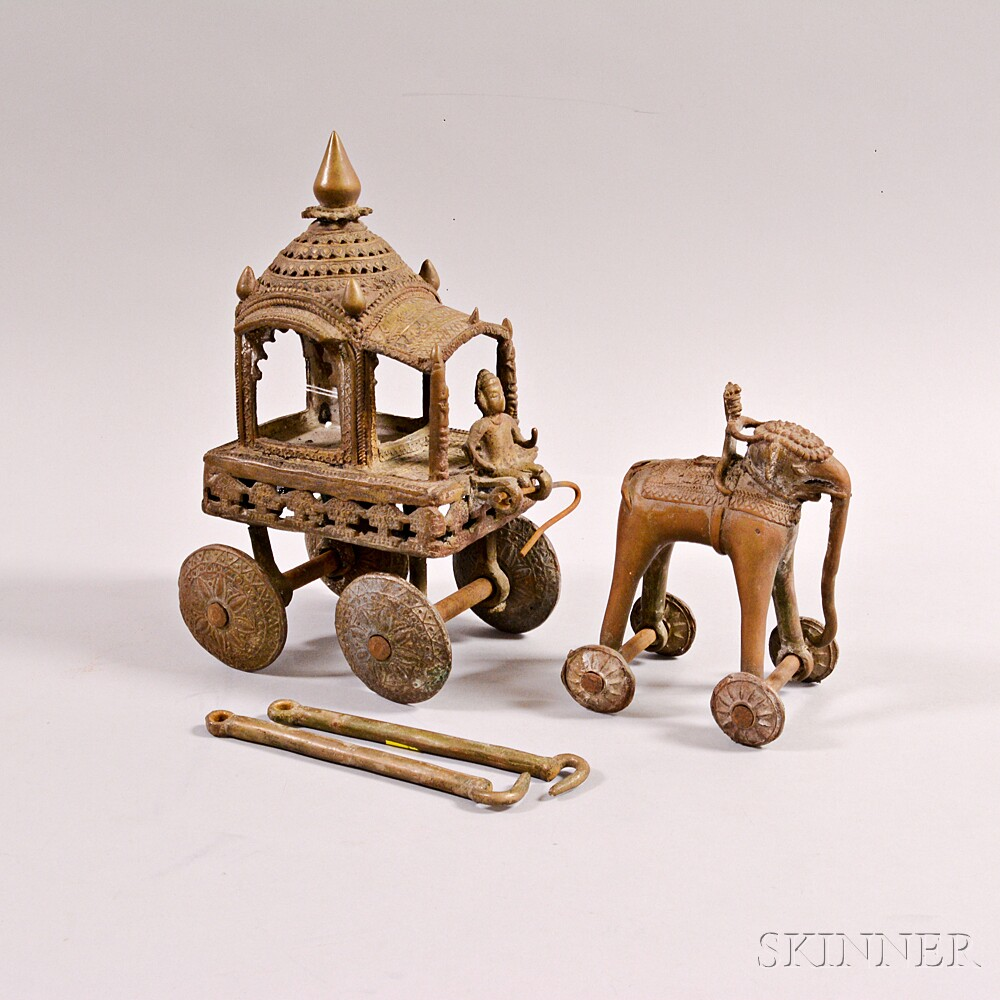 Bronze Toy Elephant and Carriage