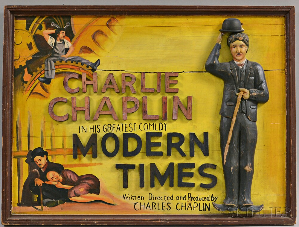 Carved and Painted Charlie Chapin Folk Art Sign