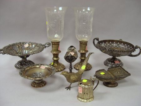 Fourteen Pieces of Assorted Decorative Silver Plated and Metal Articles