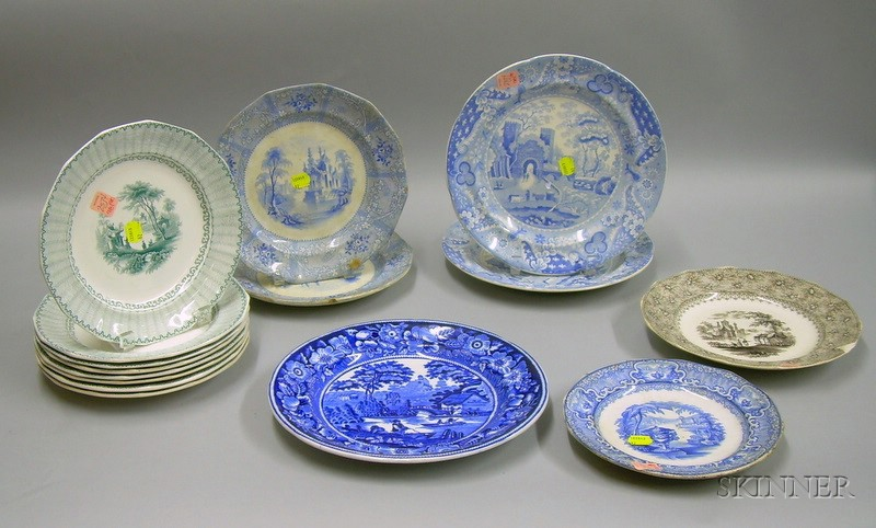 Set of Eight R.H. & Co. Transfer Chapoo Pattern Staffordshire Plates and Seven Assorted English Transfer Decora...