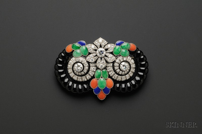 Art Deco Gem-set Devant de Corsage, Boucheron, Paris, designed by Lucien Hirtz