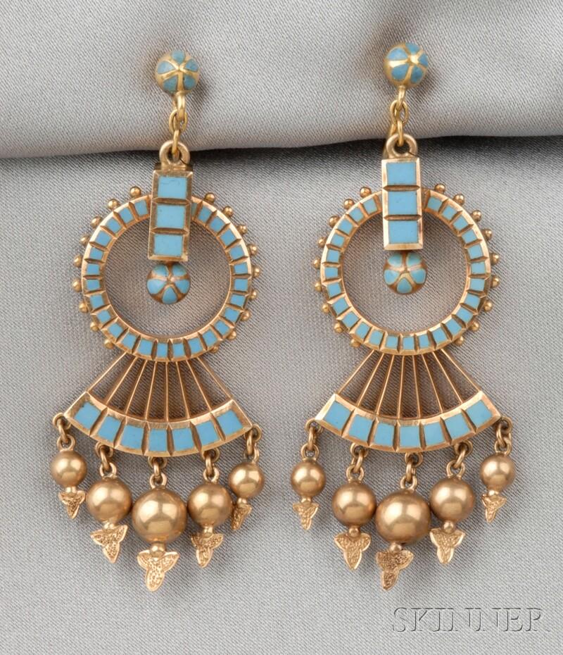 Antique 14kt Gold and Enamel Earpendants