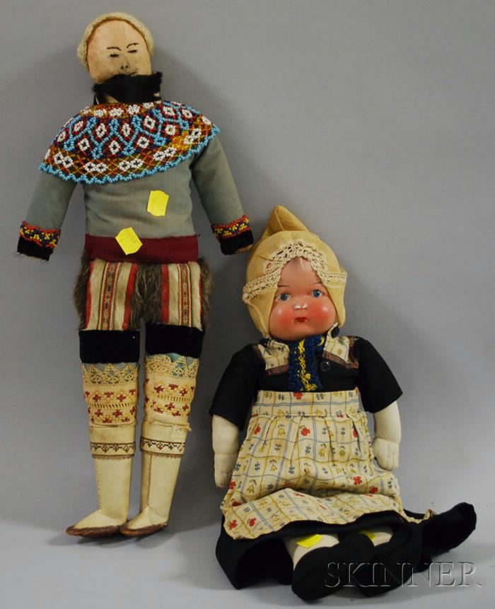 Greenland Eskimo Doll and Dutch Ethnic Doll
