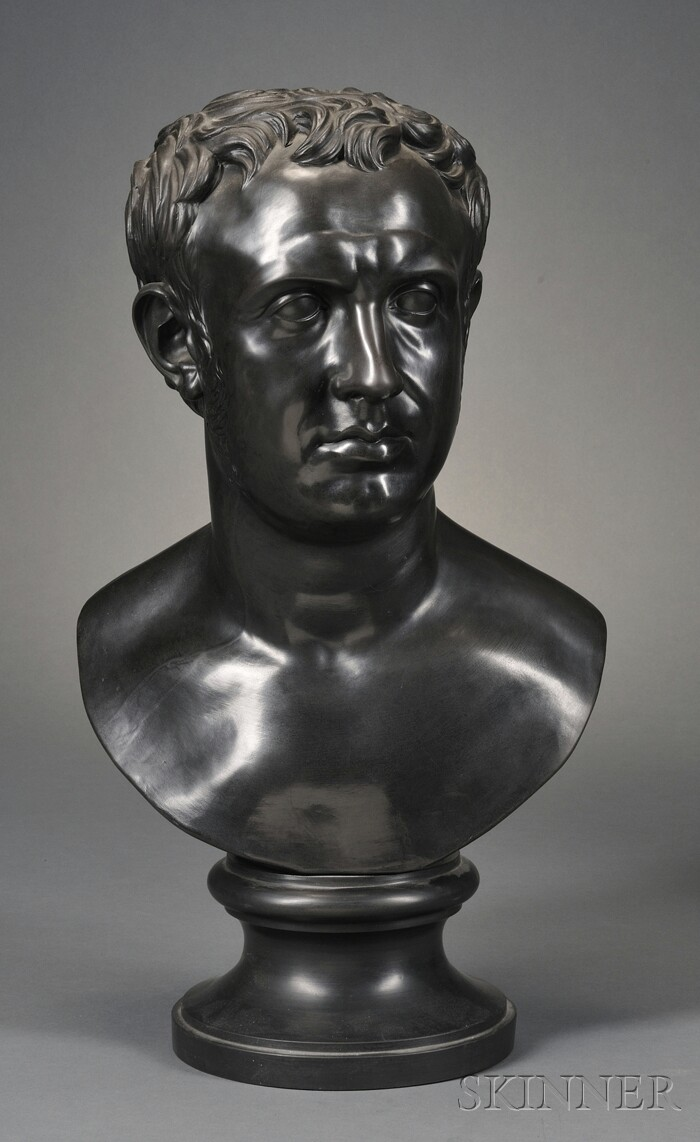 Wedgwood & Bentley Black Basalt Library Bust of Cato