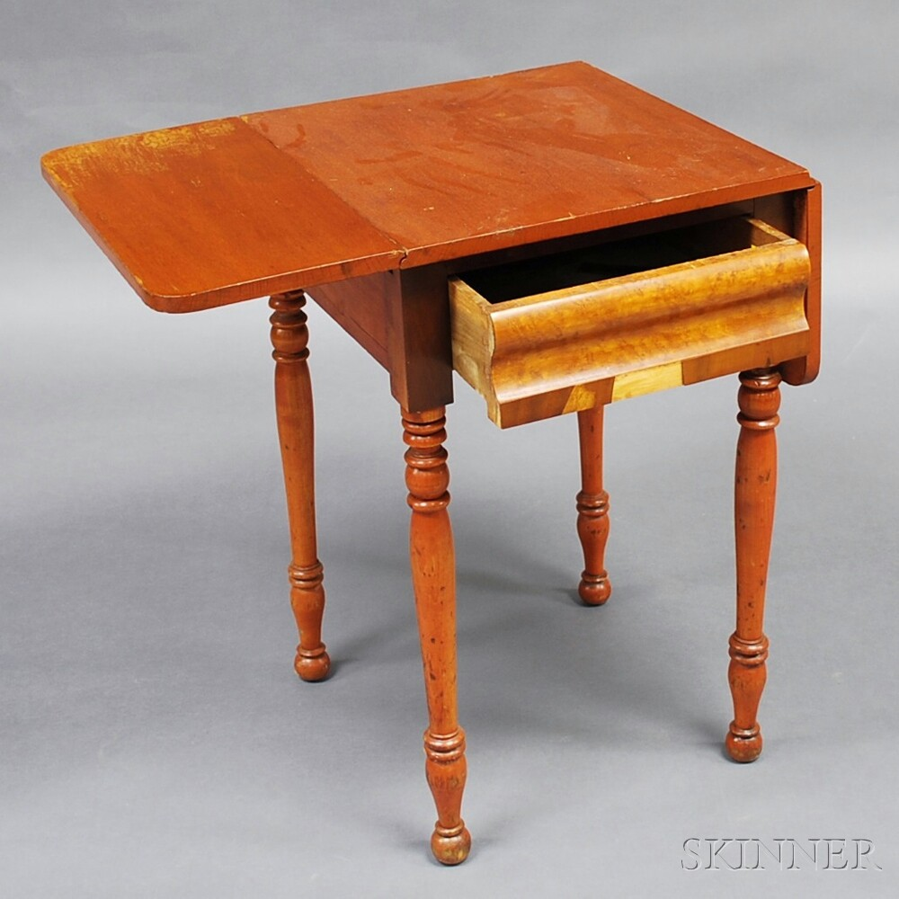 Classical Cherry and Maple Veneer One-drawer Drop-leaf Table