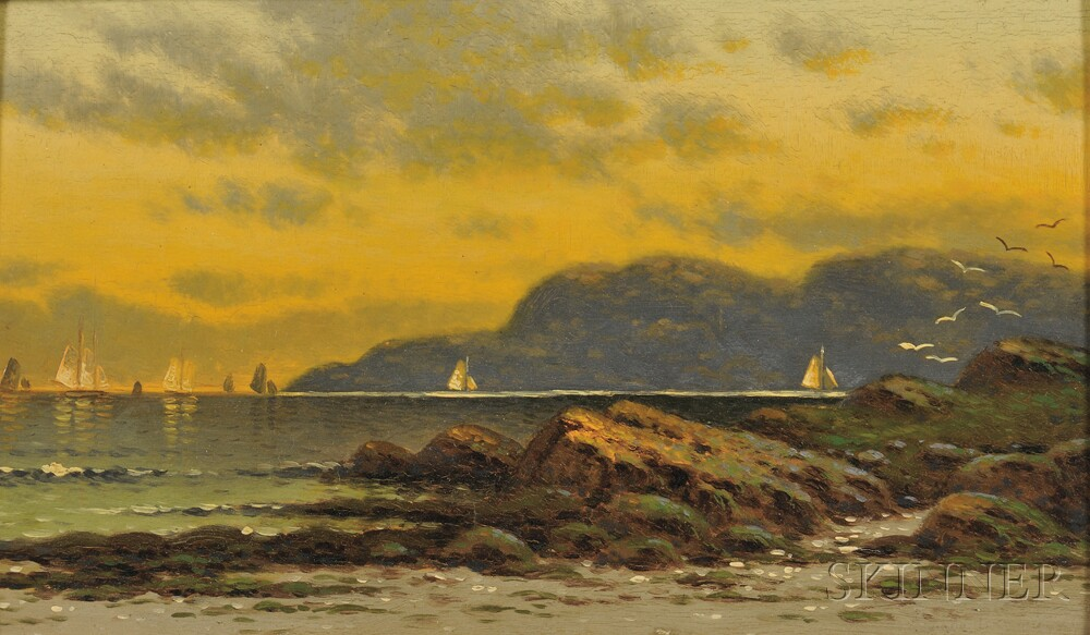 Alfred Thompson Bricher (American, 1837-1908)      Sailing at Sunset