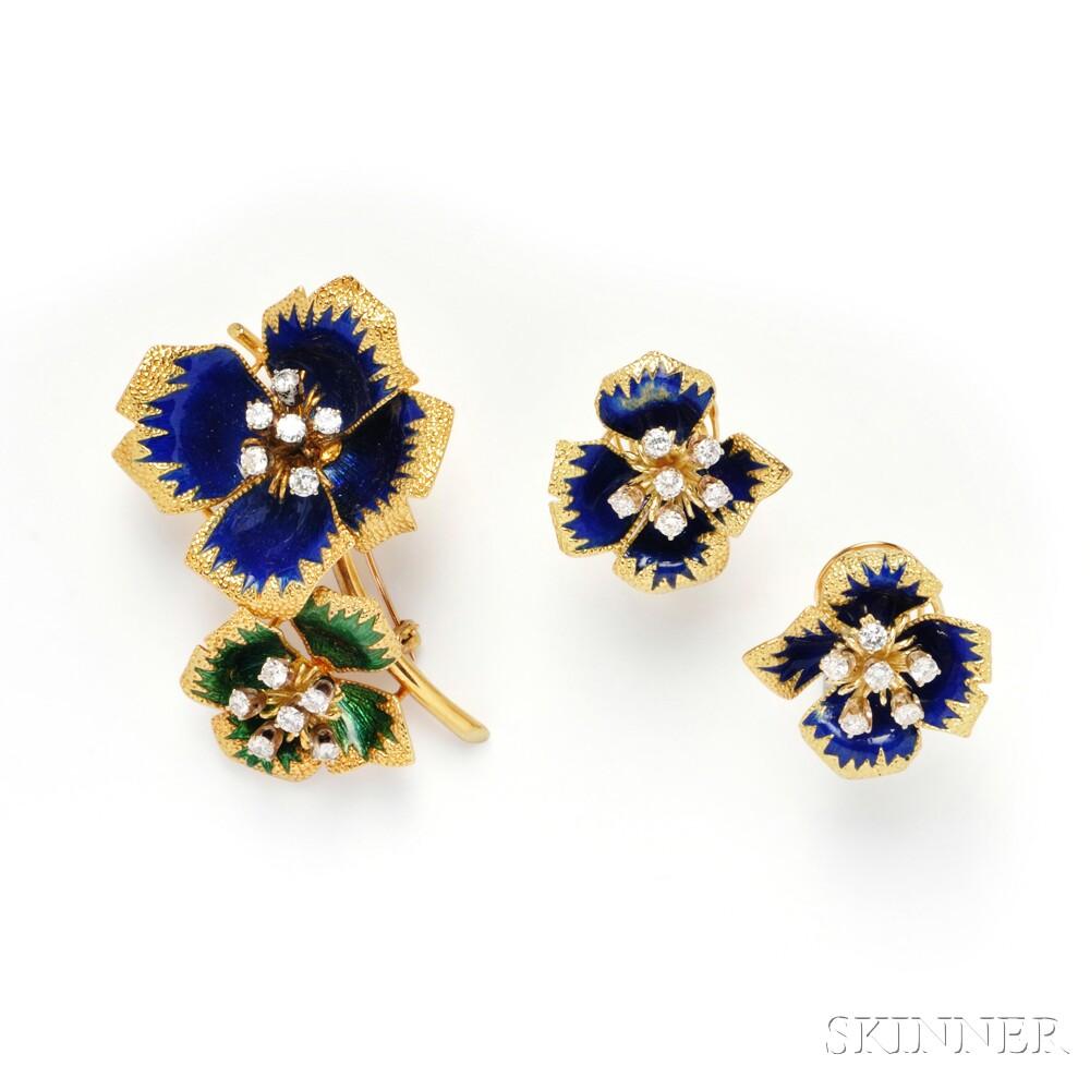 18kt Gold, Enamel, and Diamond Flower Brooch and Earrings