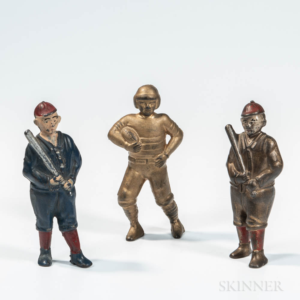 Three Sports Figure Cast Iron Still Banks