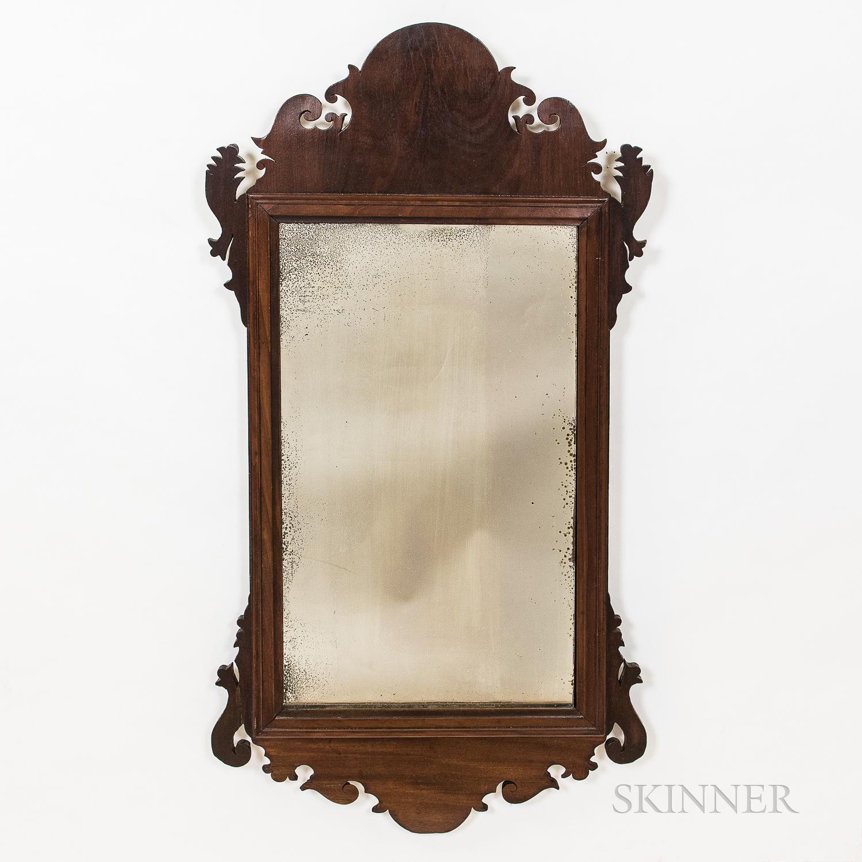Two Mahogany Scroll-framed Mirrors
