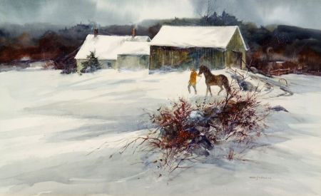 Nathalie Johnson Nordstrand (American, b. 1932)    Headed Out to Pasture, Winter