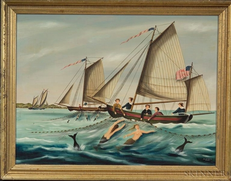 Ralph Eugene Cahoon, Jr.  (Cotuit, Massachusetts, 1910-1982)    Sailors Netting Fish and Mermaids.