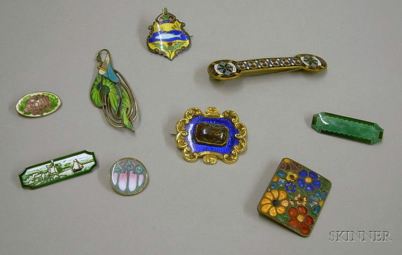 Nine Victorian and Later Enamel Brooches/Pins