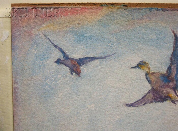 Frank Weston Benson  (American, 1862-1951)      Pintails in Flight over a Marsh