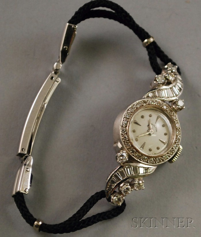 Platinum and Diamond Art Deco-style Hamilton Lady's Wristwatch