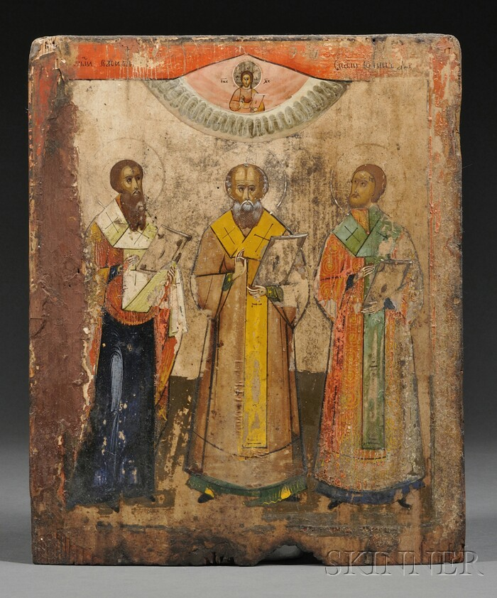 Russian Icon of Three Patron Saints