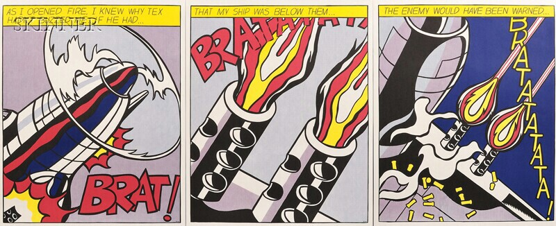 Roy Lichtenstein (American, 1923-1997)      As I Opened Fire...  /A Triptych