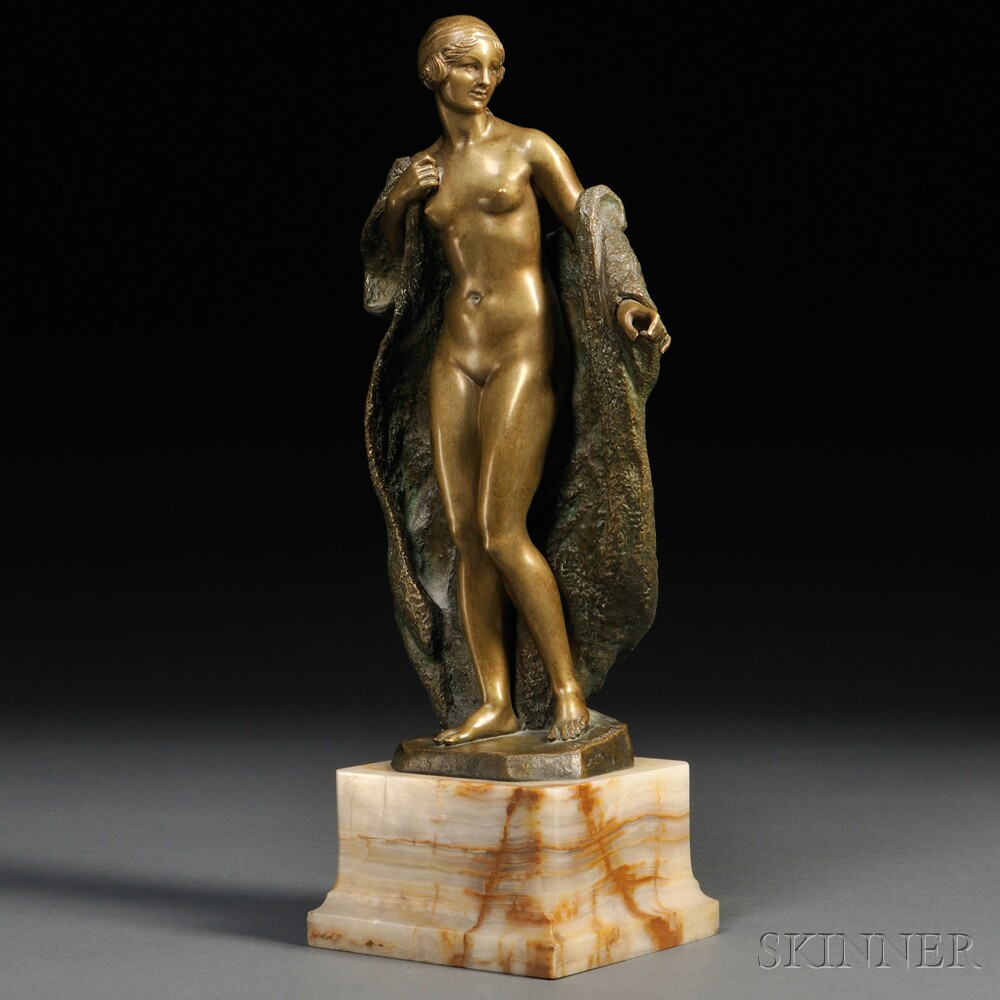After Joe Descomps (French, 1869-1950)       Bronze Figure of a Nude Woman with a Fur Coat