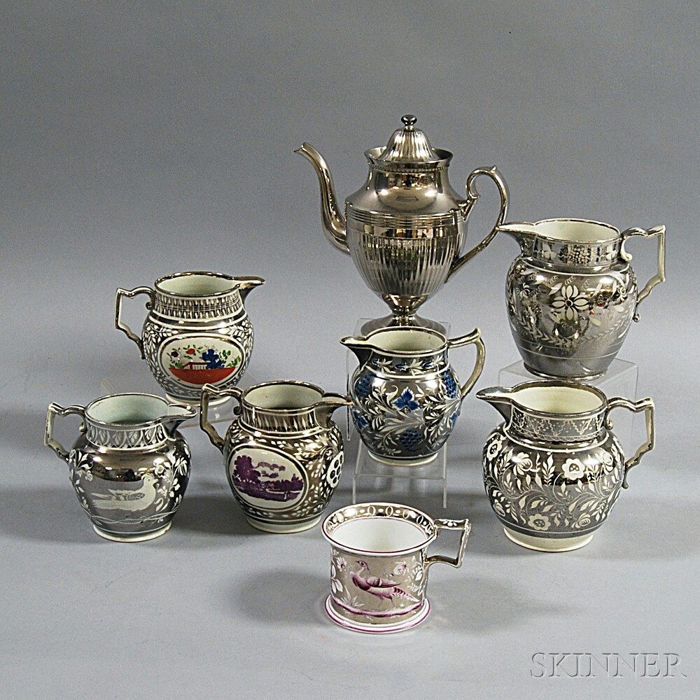 Eight Silver Lustre Items