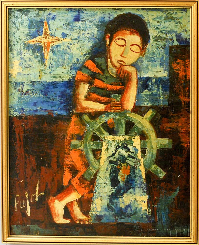 Francisco Pujol (Spanish, b. 1927)      Child Resting on the Wheel of a Ship