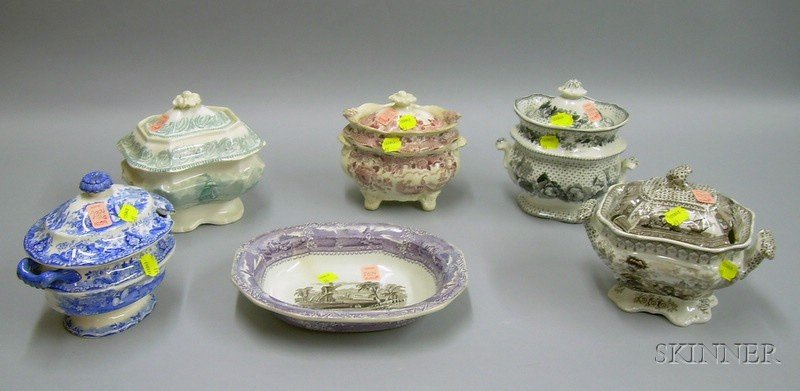English Transfer Decorated Staffordshire Serving Bowl, Two Covered Sauce Tureens, and Three Covered Sugars....