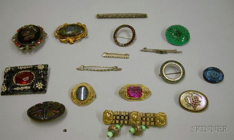 Assorted Victorian and Later Sterling Silver and Other Costume Brooches and Buttons.