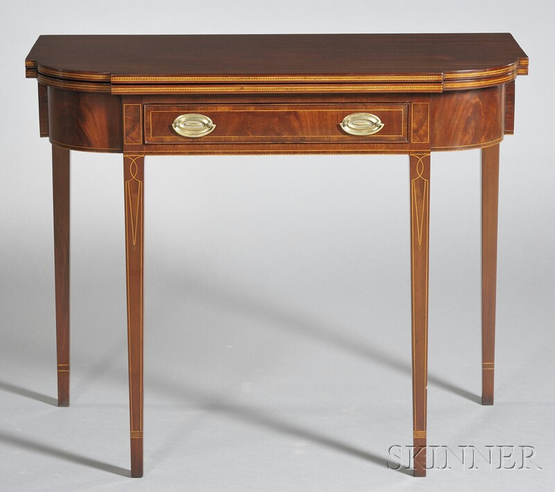 Federal Inlaid Mahogany Card Table with Drawer