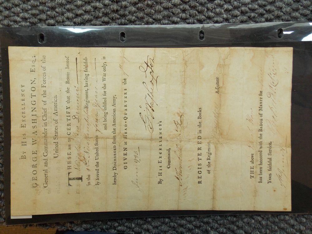 Washington, George (1732-1799) Military Discharge Signed, Headquarters, Newburgh, New York, 7 June 1783.