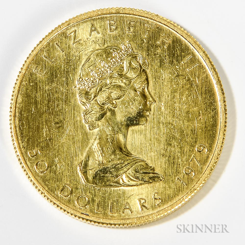 1979 Canadian $50 Maple Leaf Gold Coin.     Estimate $800-1,000