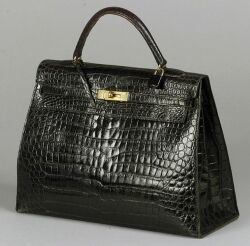 Lady's Black Crocodile Leather Handbag