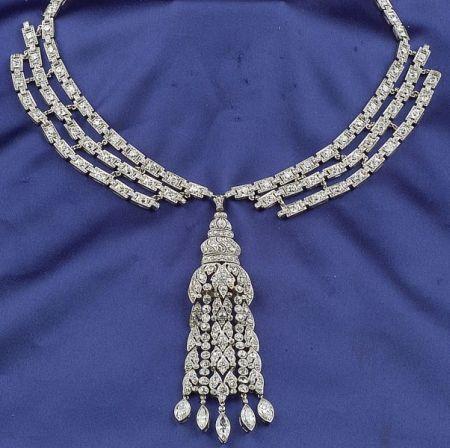 Art Deco Platinum and Diamond Pendant Necklace