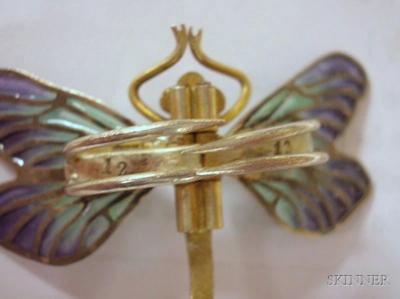 Meyle & Mayer .900 Silver Plique-a-Jour Jugendstil Dragonfly Clip, a Gilt Metal Costume Plique-a-Jour Dragonfly Brooch, and a Sadie Gre