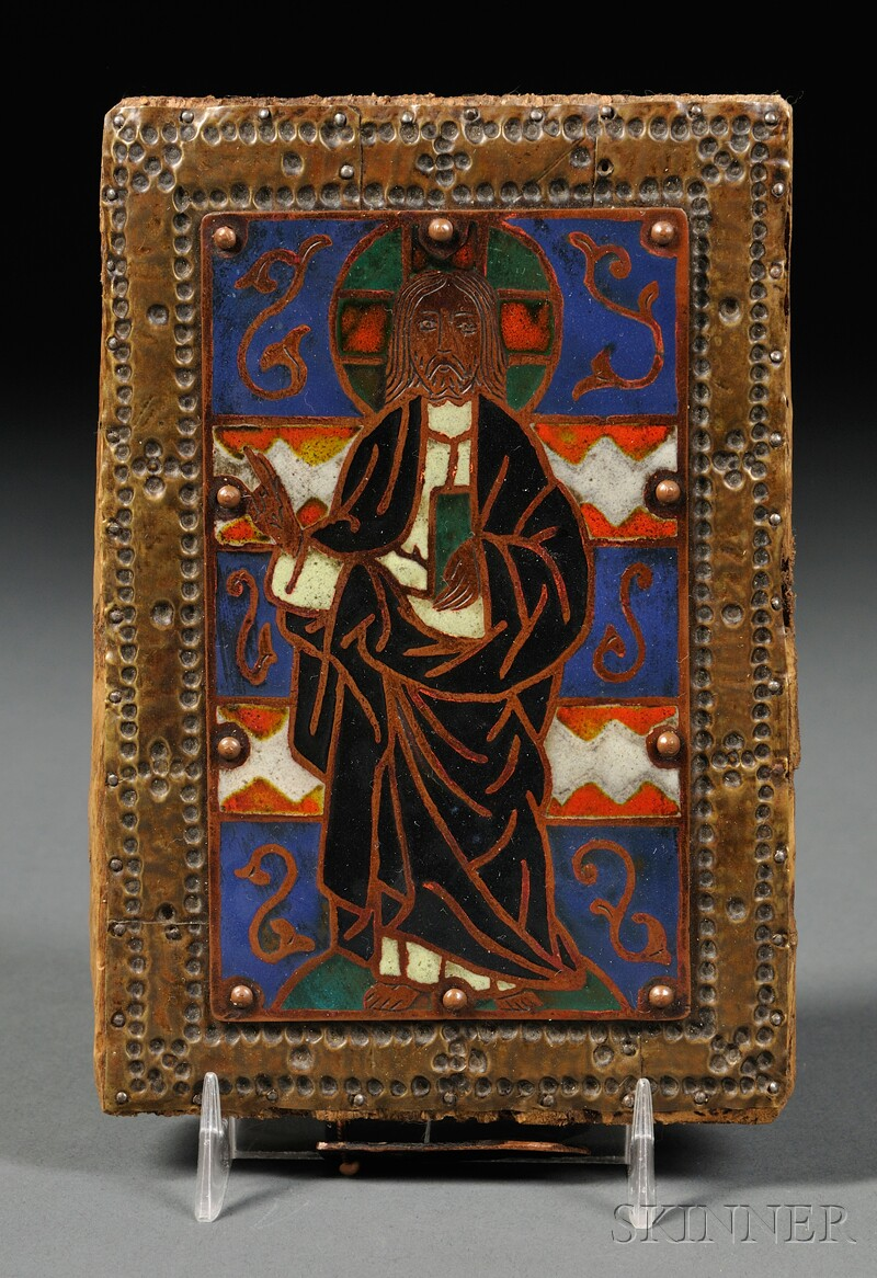 French Champleve Enamel and Copper Plaque of Jesus