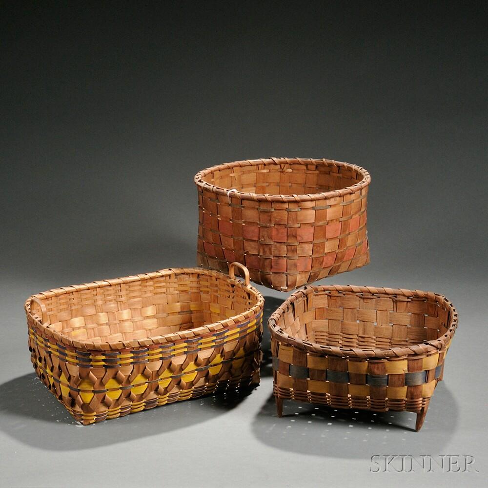 Three Painted Splint Baskets